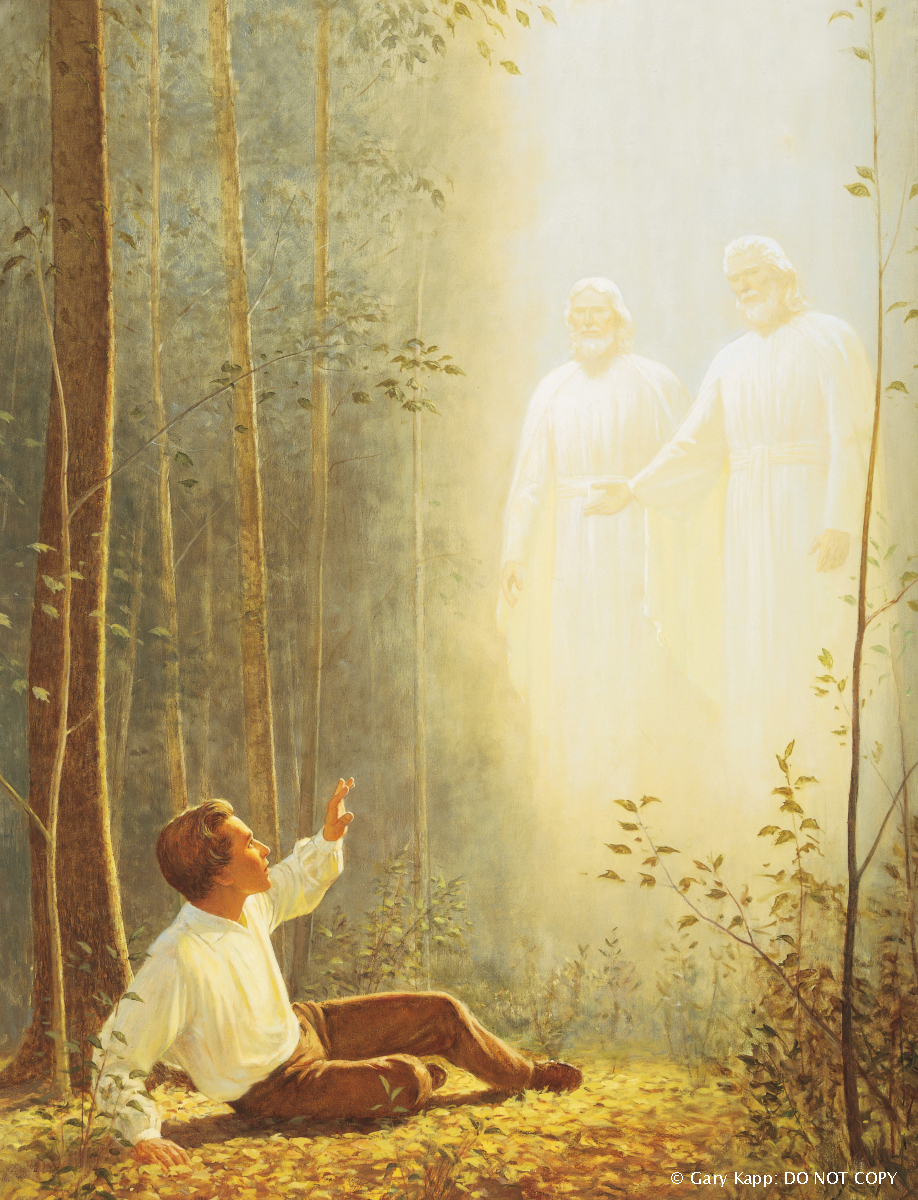 A depiction by Gary L. Kapp of Joseph Smith sitting on the ground in the Sacred Grove, looking up to see Jesus Christ and Heavenly Father instructing him.
