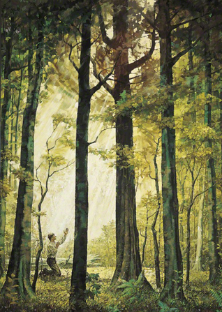 A painting by Kenneth Riley depicting Joseph Smith kneeling in the Sacred Grove with his arms raised toward a stream of light shining through the trees.