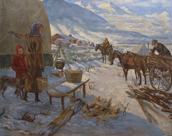 A painting by Jonathan Leo Fairbanks showing a woman carrying a bucket with a young boy at her side and a man unloading wood from a wagon in the middle of winter.