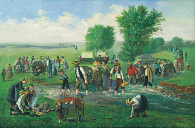 A painting by C. C. A. Christensen depicting a group of handcart pioneers crossing a shallow stream.