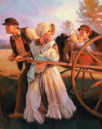A painting by Sam Lawlor depicting a pioneer family traveling by handcart, with several children sitting in the handcart being pulled by their parents.
