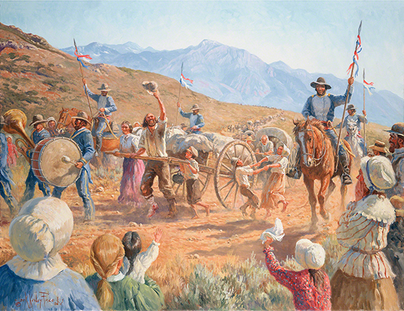 A painting by Clark Kelley Price depicting a large group of handcart pioneers cheering and celebrating as they enter the Salt Lake Valley.