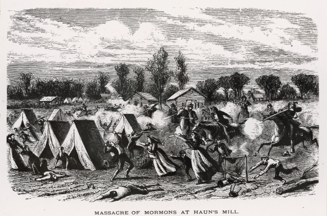 A depiction of the massacre at Haun's Mill with men on horses shooting at fleeing men, women, and children.