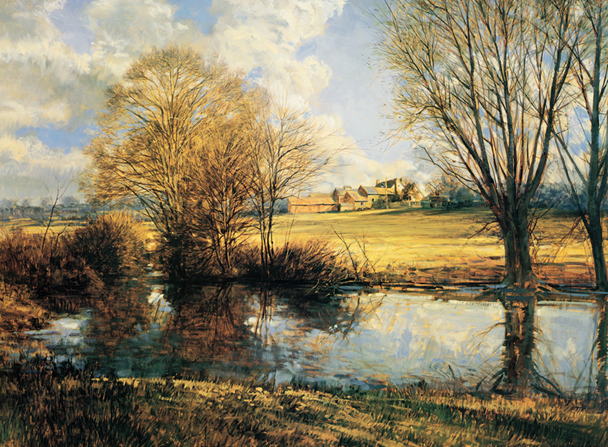 A painting by Francis R. (Frank) Magleby of the Benbow pond bordered by bushes and trees with a large, open field and farm in the distance.