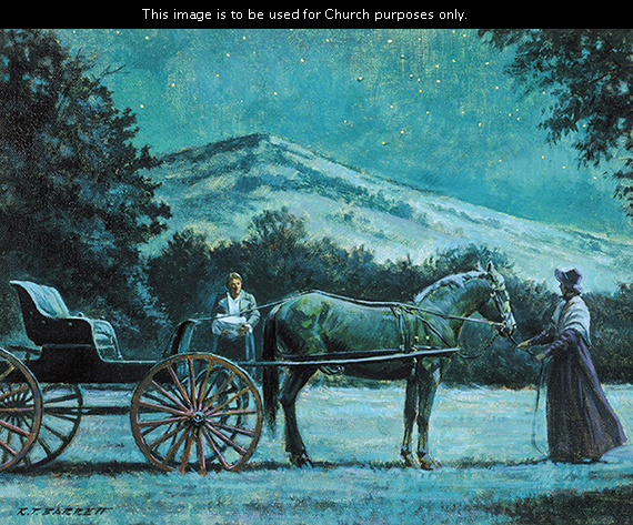 A painting by Robert T. Barrett depicting Emma Smith at night standing by a horse and buggy as Joseph Smith approaches with the gold plates wrapped in a blanket.