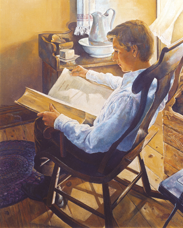 An image of Joseph Smith as a youth at home, sitting in a wooden rocking chair while reading from a large Bible on his lap.