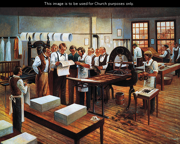A painting by Gary E. Smith of Joseph Smith and other men in the Grandin press building, looking at the first printed pages of the Book of Mormon.