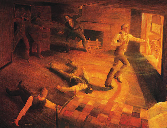 A painting by Gary E. Smith of Joseph Smith running to a window in the Carthage Jail as a mob shoots at him and others in the room.