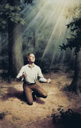 A painting of Joseph Smith kneeling in the Sacred Grove and looking at a light overhead.