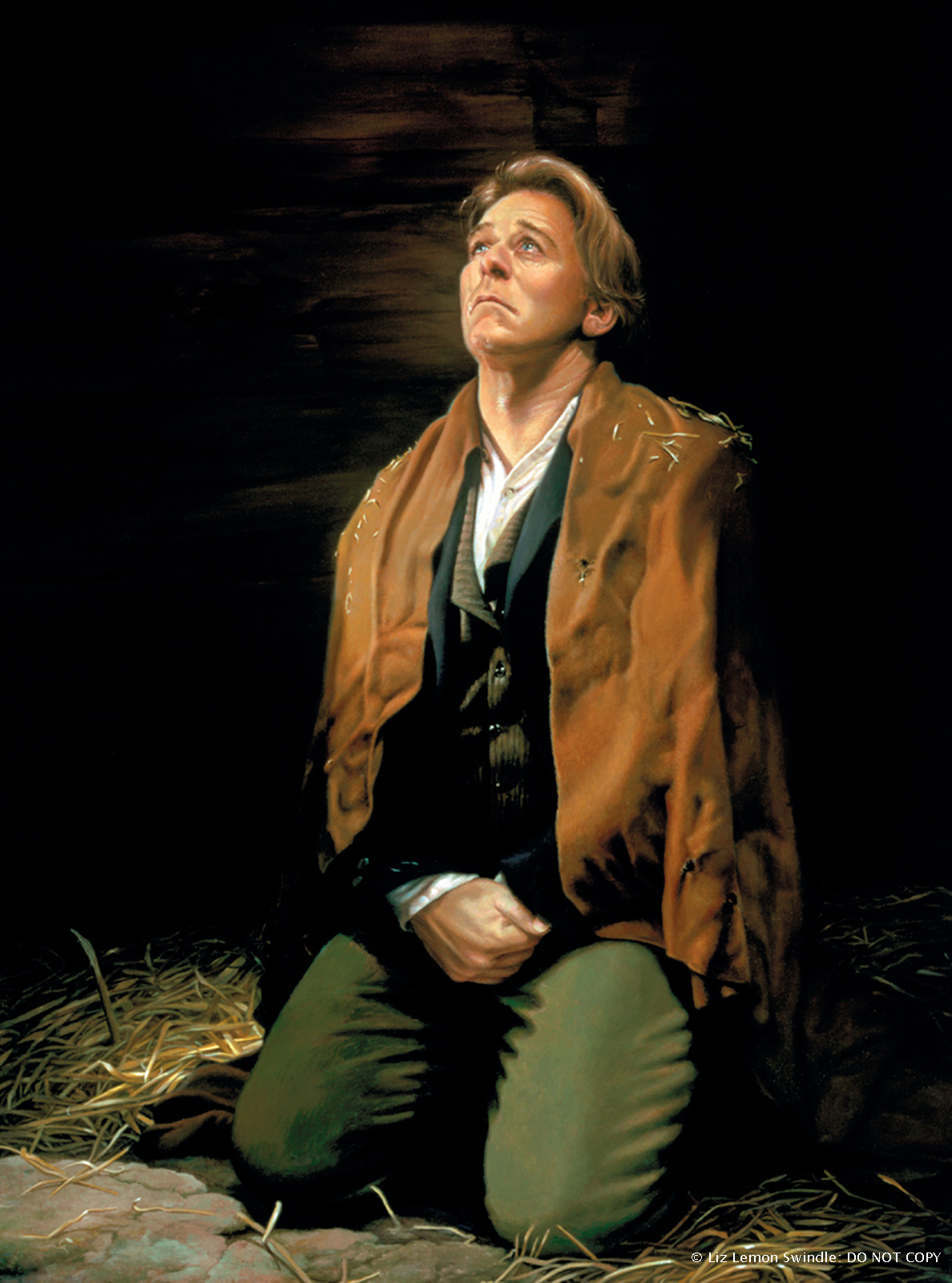A painting by Liz Lemon Swindle of Joseph Smith in Liberty Jail kneeling and looking upwards with tears running down his face.