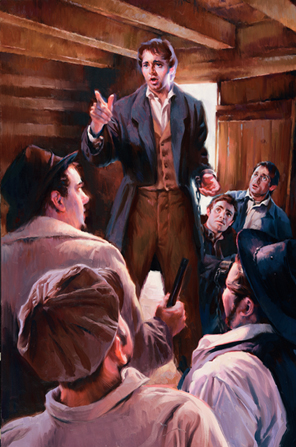 A painting by Sam Lawlor depicting Joseph Smith standing in the Richmond jail, raising a finger and rebuking the guards.