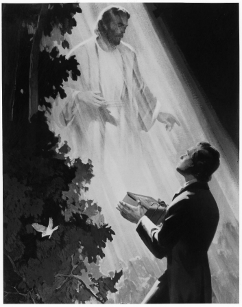 A painting by Edward T. Grigware of Joseph Smith kneeling and holding the gold plates as the angel Moroni stands in a shaft of light above him.
