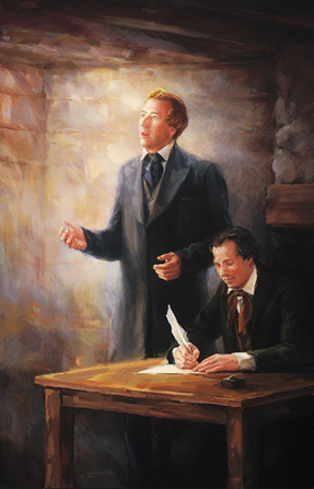 A painting by Judith A. Mehr of Joseph Smith standing and looking into the air as if talking to someone while Oliver Cowdery sits at a desk and is writing with a quill pen.
