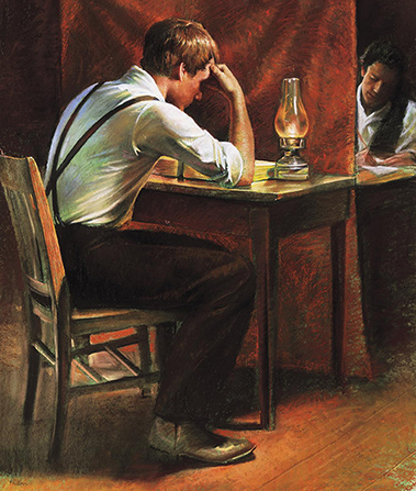 A painting by Del Parson depicting Joseph Smith sitting at a desk with his head resting on his elbow while he translates the gold plates to Oliver Cowdery on the other side of a curtain.