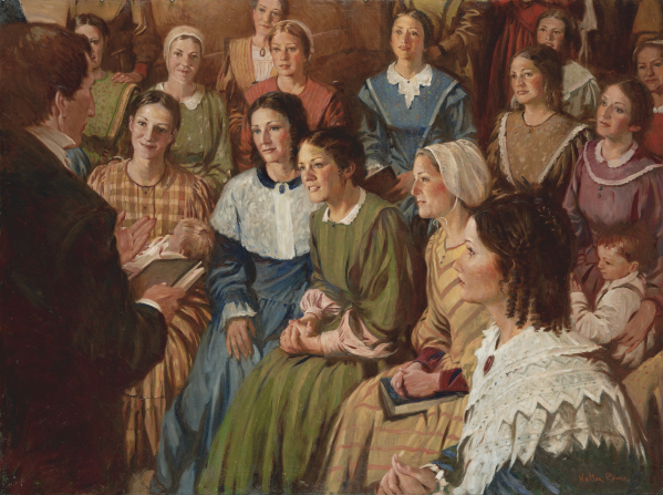A painting by Walter Rane illustrating Joseph Smith standing and holding a book while speaking to a large group of women sitting on chairs.