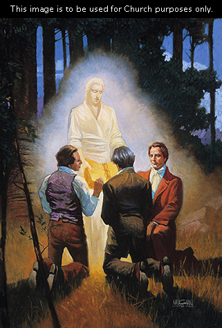 A painting by William L. Maughan showing Joseph Smith and two of the Three Witnesses kneeling in the forest while an angel stands before them holding the gold plates.