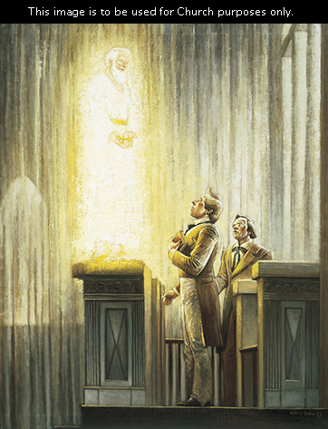 A depiction by Gary E. Smith of Elijah appearing and standing above Joseph Smith and Oliver Cowdery in the Kirtland Temple.