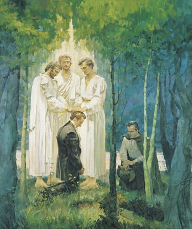 A painting by Kenneth Riley of Joseph Smith kneeling in a grove of trees and receiving the Melchizedek Priesthood through Peter, James, and John, with Oliver Cowdery nearby.