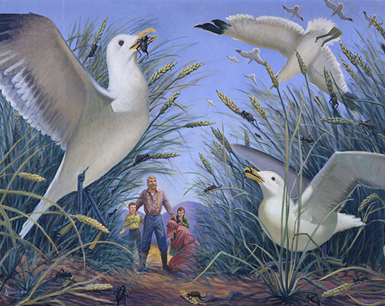 A painting by Goff Dowding of large seagulls flying into a wheat field and eating the crickets, with a family praying and watching nearby.