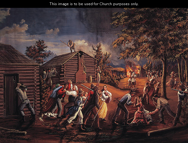 A painting by C. C. A. Christensen of a large mob with guns attacking the people of the first settlement in Jackson County, Missouri, with a cabin burning in the distance.