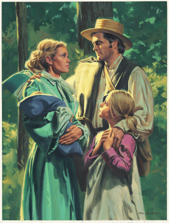 A painting by Paul Mann depicting a pioneer man saying good-bye to his wife and young children before leaving for the Mormon Battalion.