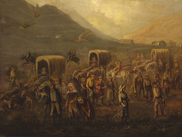 A painting by Danquart Anthon Weggeland depicting some early Saints crossing the plains in covered wagons.