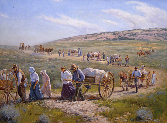 A painting by E. Kimball Warren depicting pioneers pulling loaded handcarts near South Pass, Wyoming.