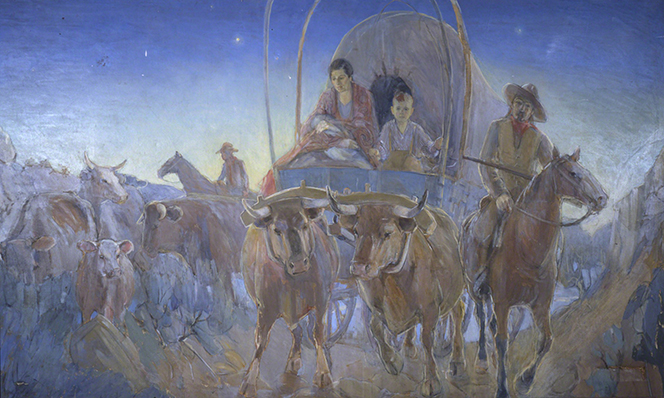 A painting of a mother holding her baby while riding in a covered wagon at dawn.