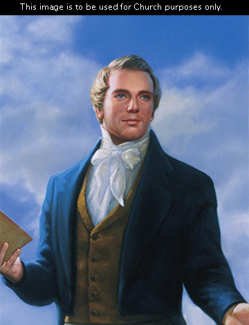 A painted portrait by David Lindsley of Joseph Smith standing and holding a Book of Mormon in one hand, with clouds in the sky.
