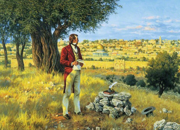 A painting by Clark Kelley Price illustrating the Apostle Orson Hyde standing on the Mount of Olives and looking at the city of Jerusalem after dedicating the land.