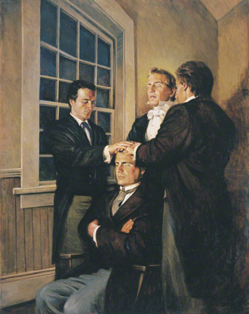 A painting by Walter Rane depicting Parley P. Pratt sitting in a chair while Joseph Smith and two other men place their hands on his head and ordain him as an Apostle.