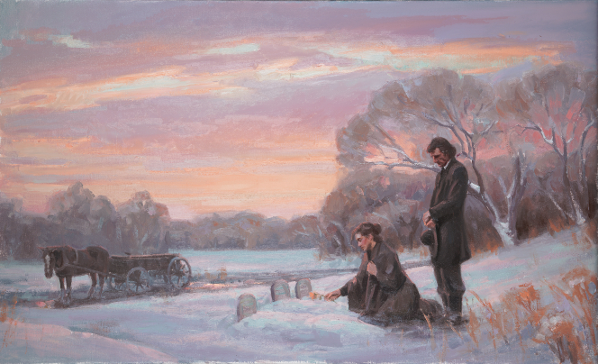 A painting by Michael T. Malm depicting a pioneer couple next to the graves of three children.