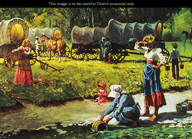 A painting by Harold Hopkinson illustrating covered wagons stopped by a stream while a woman is leaning over and filling up a bucket of water.