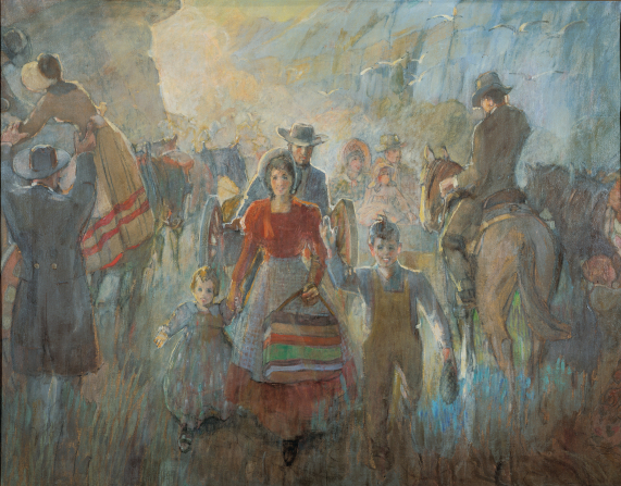 A painting by Minerva K. Teichert showing a group of handcart pioneers arriving in Salt Lake City, waving to the people who are meeting them.