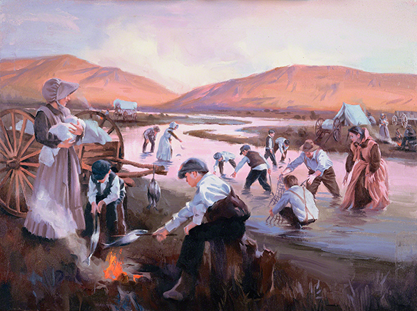 A painting by Sam Lawlor depicting a group of pioneers using nets to catch fish in a shallow river.