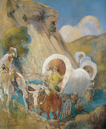 A painting by Minerva K. Teichert depicting a group of pioneers in covered wagons crossing a river.