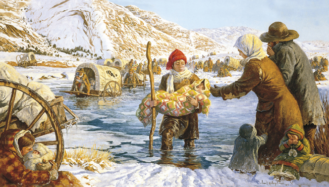 A painting by Clark Kelley Price illustrating a young man walking through the icy Sweetwater River carrying a child wrapped in a blanket.