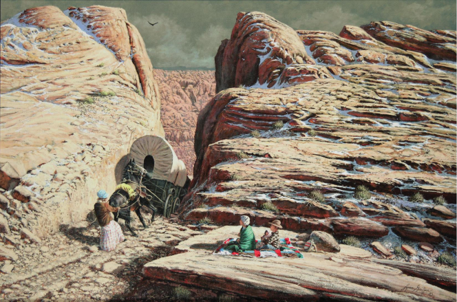 An image of a covered wagon going down the Hole-in-the-Rock while children sit on a blanket nearby and watch.
