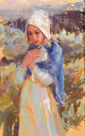A painting by Julie Rogers of a young girl in pioneer clothing standing on the plains.