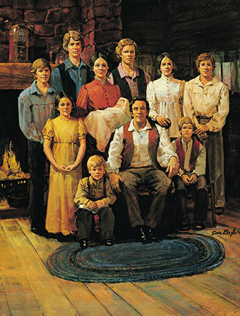 A portrait by Dan Baxter of Joseph Smith's family, consisting of nine children and two parents, in their home.