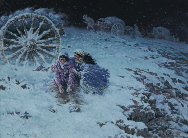 A painting by Clark Kelley Price depicting two pioneer women sitting in a blizzard while one of them encourages the other to go on.