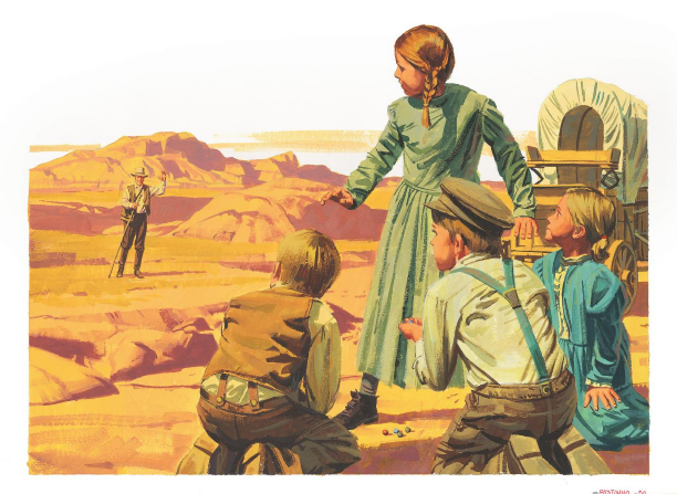 A painting by Paul Mann of four pioneer children playing marbles on the trail and looking up to see a man waving with mountains in the background.