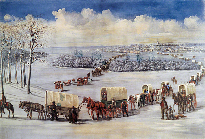 A painting by Grant Romney Clawson depicting a large group of pioneers crossing the frozen Mississippi River.