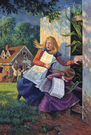 A painting by Clark Kelley Price of the sisters Mary and Caroline Rollins carrying the Book of Commandments while escaping from the mob through a gap in a fence to a cornfield.