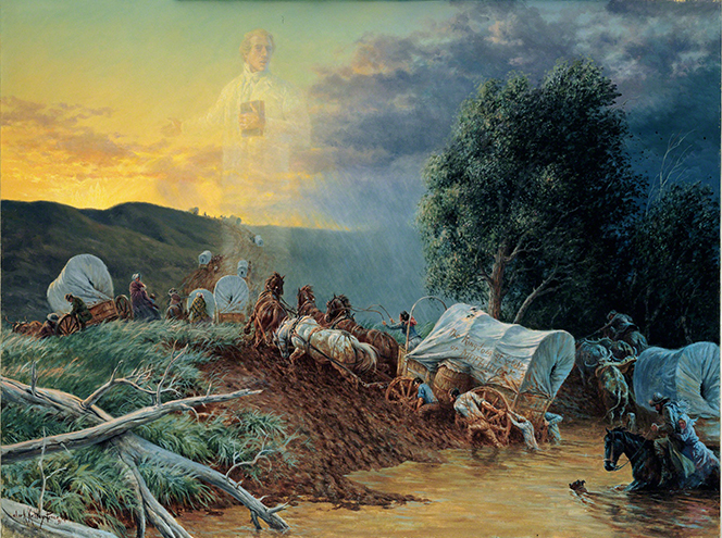 A painting by Clark Kelley Price depicting a group of pioneers crossing a muddy river, with an image of Joseph Smith faintly seen in the background.