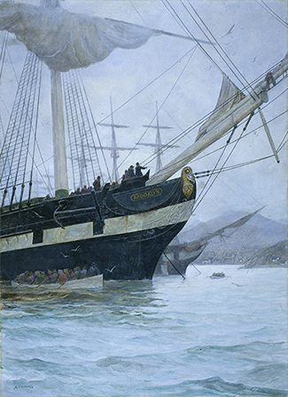 A painting by Arnold Friberg of the ship Brooklyn on an overcast day.