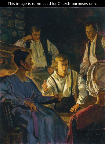 A painting by Robert T. Barrett depicting Joseph Smith sitting by a fireplace surrounded by his family as he recounts his experience on Hill Cumorah.