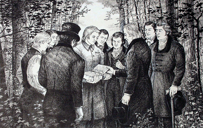 A black-and-white drawing by Olinda Reynolds of a man standing and holding the gold plates open, with eight men surrounding him and looking down at the plates.