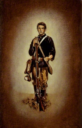 A portrait by William L. Maughan of Joseph William Richards, a member of the Mormon Battalion, standing in uniform and leaning on a long rifle.