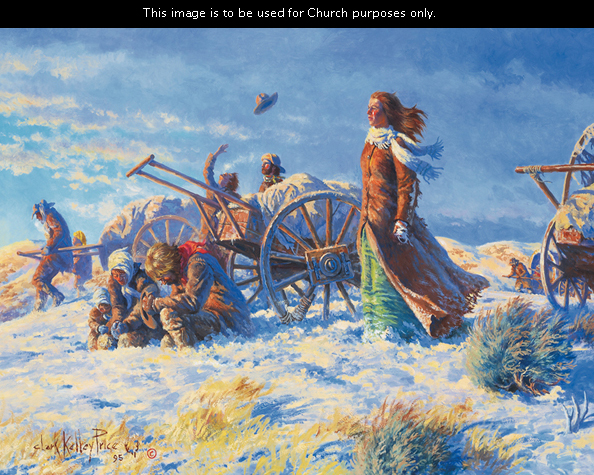 A painting by Clark Kelley Price showing a woman standing on a summit overlooking the Salt Lake Valley while others kneel by their handcart and say a prayer of gratitude.